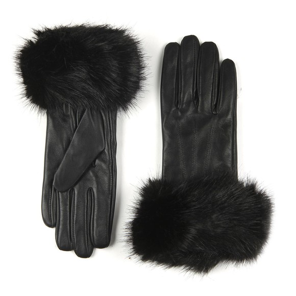 Barbour Lifestyle Womens Black Fur Trimmed Leather Gloves