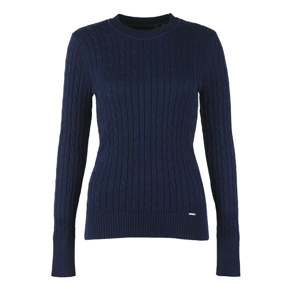 Superdry Womens Blue Croyde Cable Crew Jumper