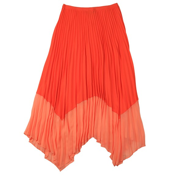 French Connection Womens Orange Ali Pleat 2 Tone Skirt