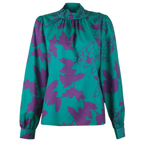 French Connection Womens Green Arina Light Button Neck Top