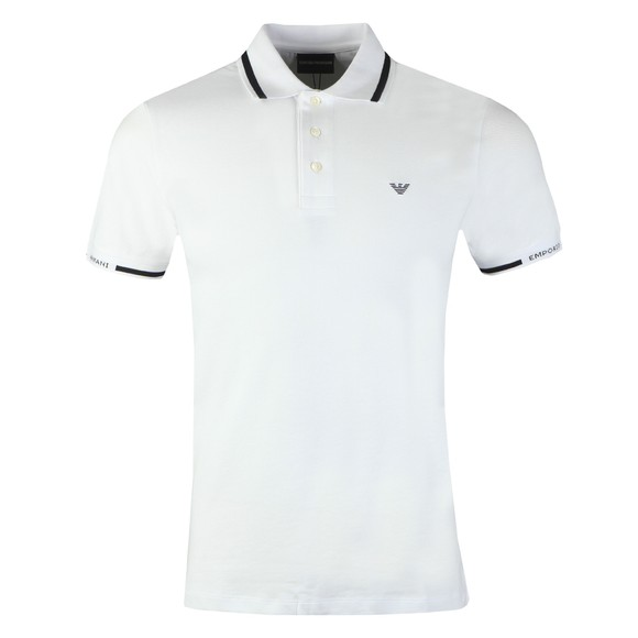 Emporio Armani Mens White Stripe Collar Polo Shirt