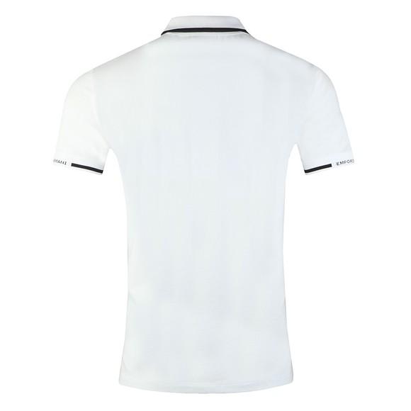 Emporio Armani Mens White Stripe Collar Polo Shirt main image