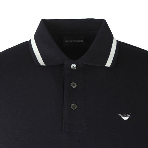 Emporio Armani Mens Blue Stripe Collar Polo Shirt