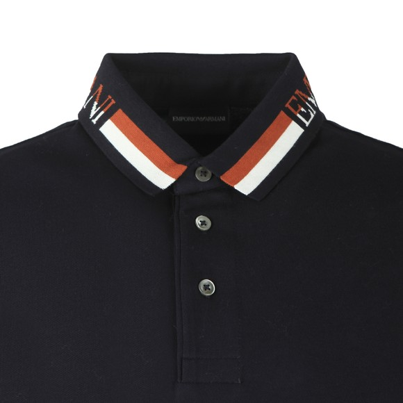 Emporio Armani Mens Blue Double Stripe Collar Polo Shirt