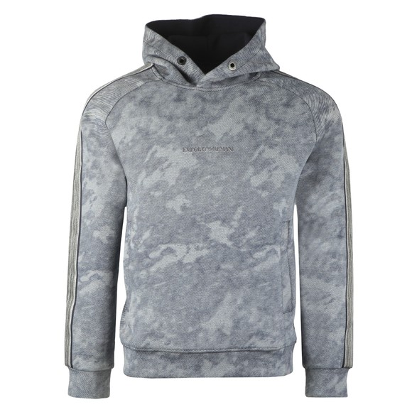 Emporio Armani Mens Blue Washed Tape Sleeve Hoody