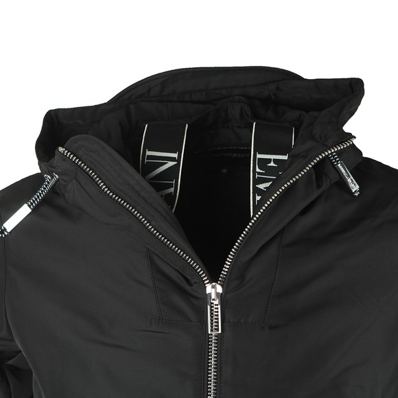 Emporio Armani Mens Black Waist Logo Hooded Jacket