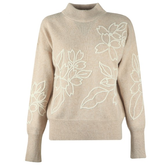 French Connection Womens Beige Lami Floral Embroidered Knit Jumper