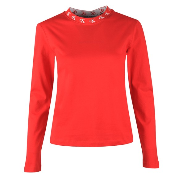 Calvin Klein Jeans Womens Red CK Logo Trim Long Sleeve T Shirt