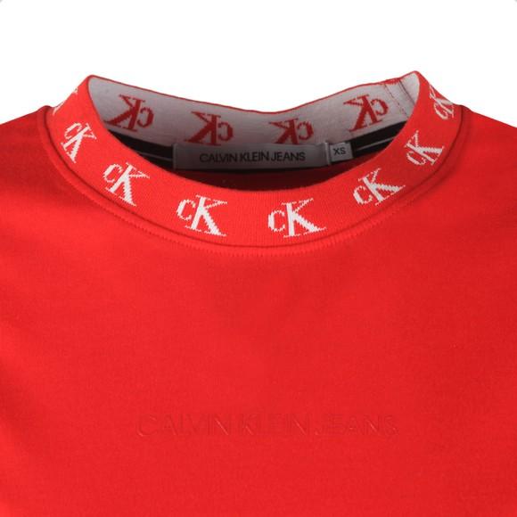 Calvin Klein Jeans Womens Red CK Logo Trim Long Sleeve T Shirt main image