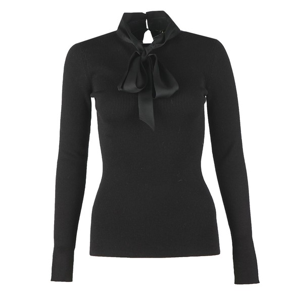 Ted Baker Womens Black Alisiya Bow Detail Long Sleeve Skinny Rib Top