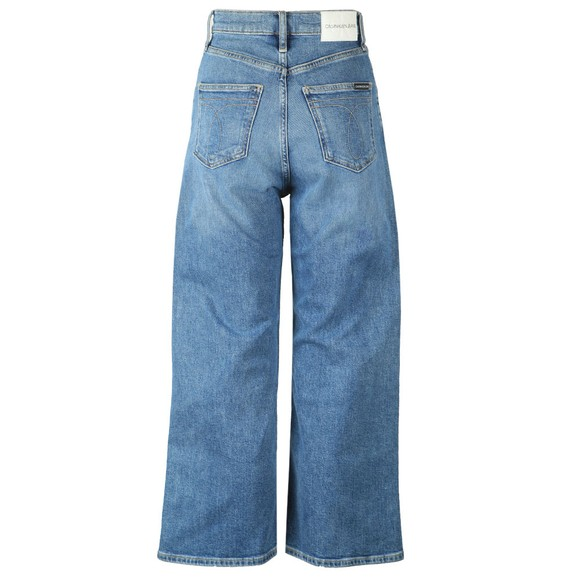 Calvin Klein Jeans Womens Blue Super High-Rise Wide Leg Crop Jean