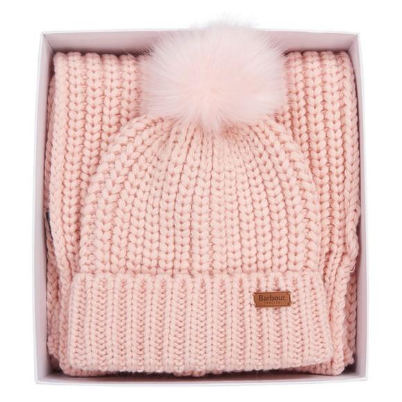 Barbour Lifestyle Womens Pink Saltburn Beanie & Scarf Set