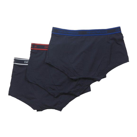Emporio Armani Mens Navy/Red/Blue 3 Pack Stretch Cotton Trunk