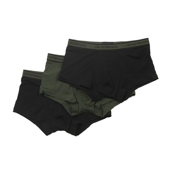 Emporio Armani Mens Green 3 Pack Stretch Cotton Trunk