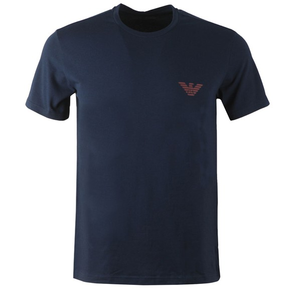 Emporio Armani Mens Blue Organic Stretch Cotton T Shirt