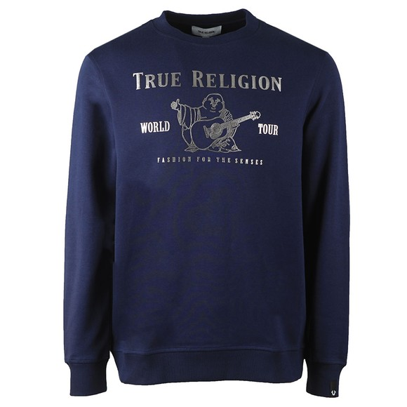 True Religion Mens Blue Chad Core Logo Sweatshirt