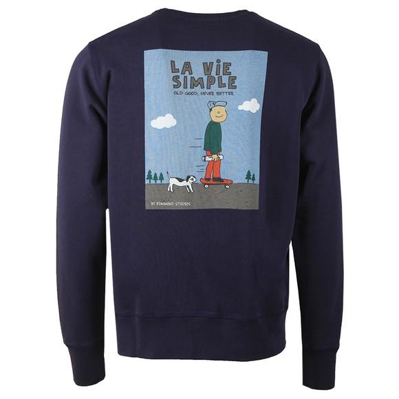 Edmmond Studios Mens Blue La Vie Simple Dog Sweatshirt