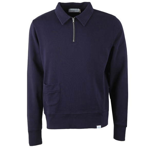 Edmmond Studios Mens Blue Actual Half Zip Sweatshirt