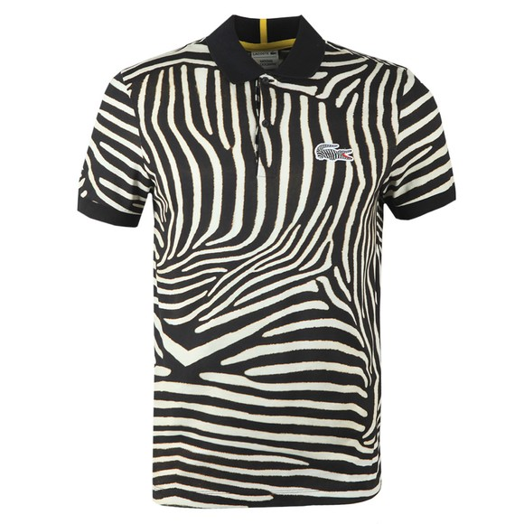 Lacoste x National Geographic Mens Black PH6285 Zebra Polo Shirt