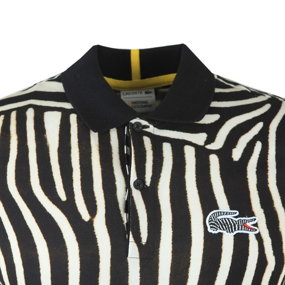 Lacoste x National Geographic Mens Black PH6285 Zebra Polo Shirt main image