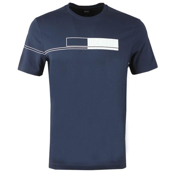 BOSS Mens Blue Athleisure Tee 1 Chest Logo Block T-Shirt