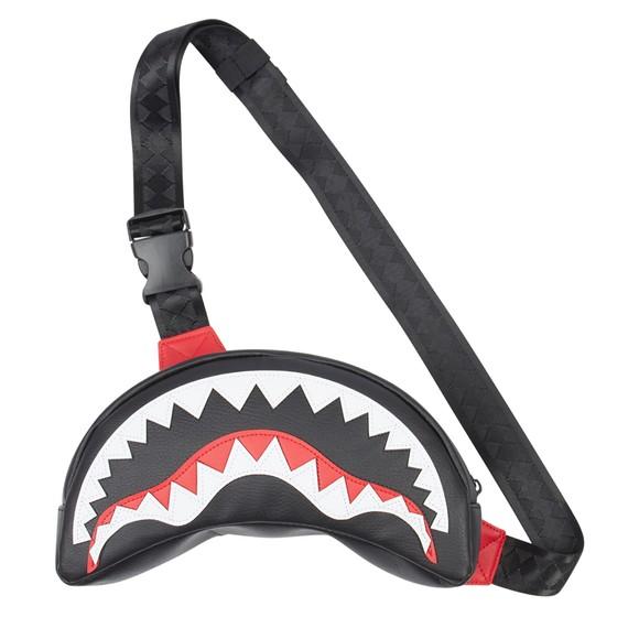 Sprayground Mens Black Shark Mouth Cross Body