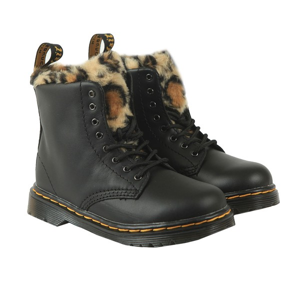 Dr. Martens Girls Black Serena Leopard Boot