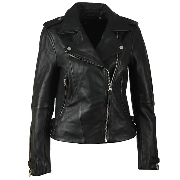 Superdry Womens Black Classic Leather Biker