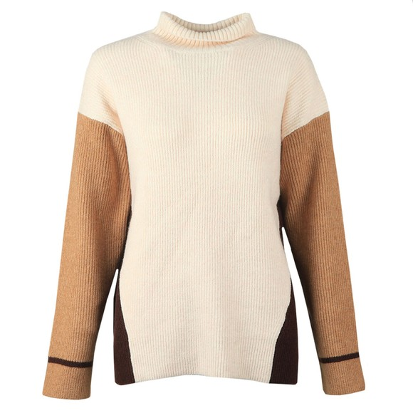 French Connection Womens Beige Jaspar Colourblock Knit