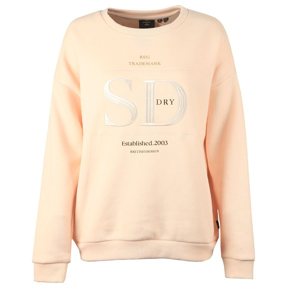 Superdry Womens Pink Established Crew Sweatshirt