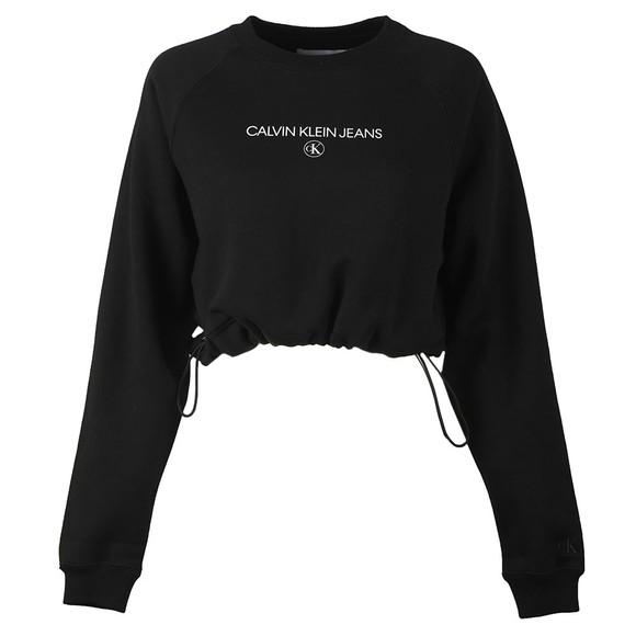 Calvin Klein Jeans Womens Black Cropped Drawstring Sweatshirt
