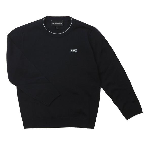 Emporio Armani Boys Blue Rubber Logo Knitted Jumper