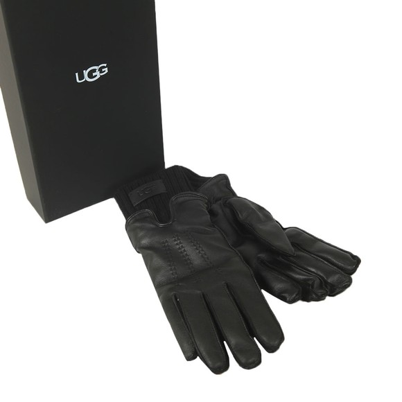 Ugg Womens Black Leather With Knit Cuff Glove