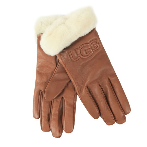 Ugg Womens Brown Classic Leather Logo Glove