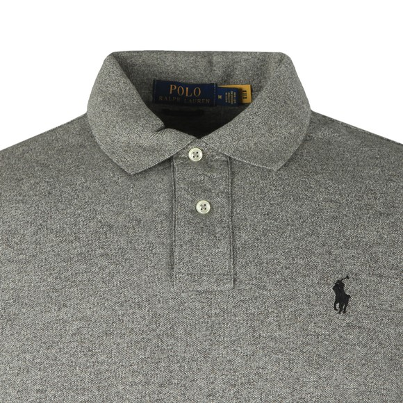 Polo Ralph Lauren Mens Grey Custom Slim Fit Long Sleeve Polo Shirt
