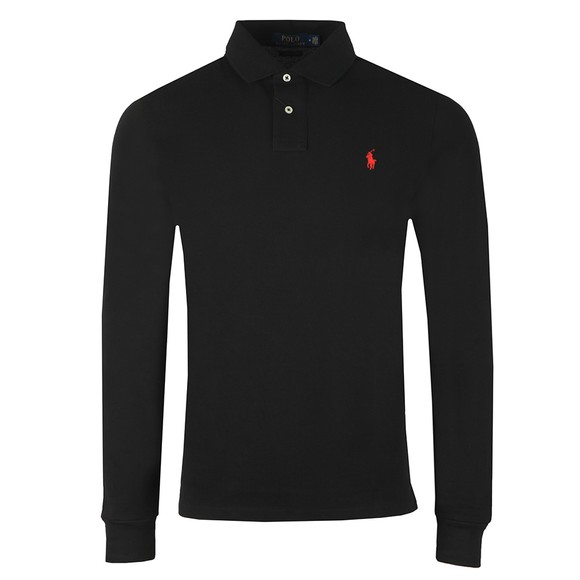 Polo Ralph Lauren Mens Black Custom Slim Fit Long Sleeve Polo Shirt