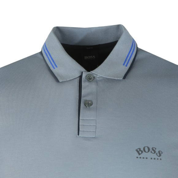 BOSS Mens Blue Athleisure Paul Curved Polo