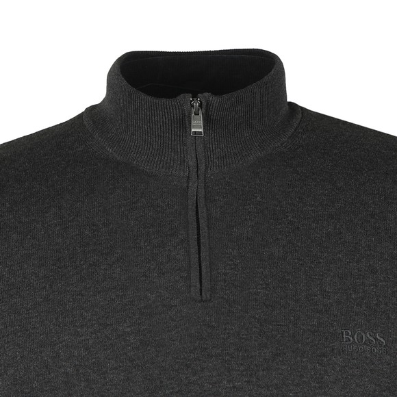 BOSS Mens Grey Formal Padro Half Zip Jumper
