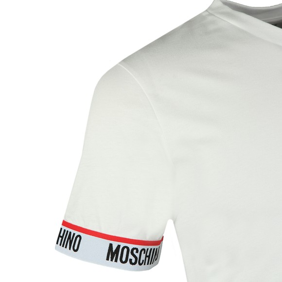 Moschino Mens White Tape Cuff Sleeve T Shirt