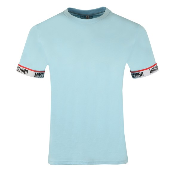 Moschino Mens Blue Tape Cuff Sleeve T Shirt
