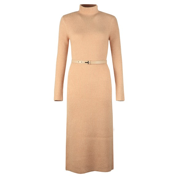 Ted Baker Womens Brown Conniey Funnel Neck Chunky Knitted Midi Dress