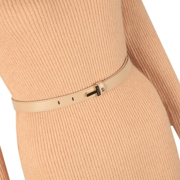 Ted Baker Womens Brown Conniey Funnel Neck Chunky Knitted Midi Dress main image