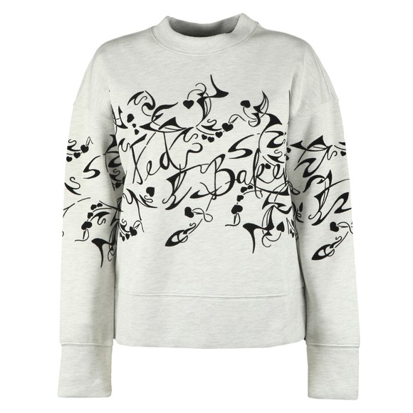 Ted Baker Womens Off-White Lyhndi Bergamot Flocked Sweatshirt