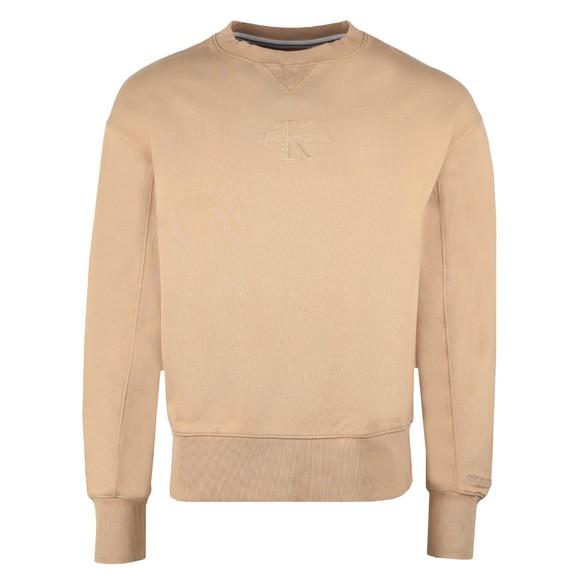 Calvin Klein Jeans Mens Beige Acid Wash Crew Sweatshirt