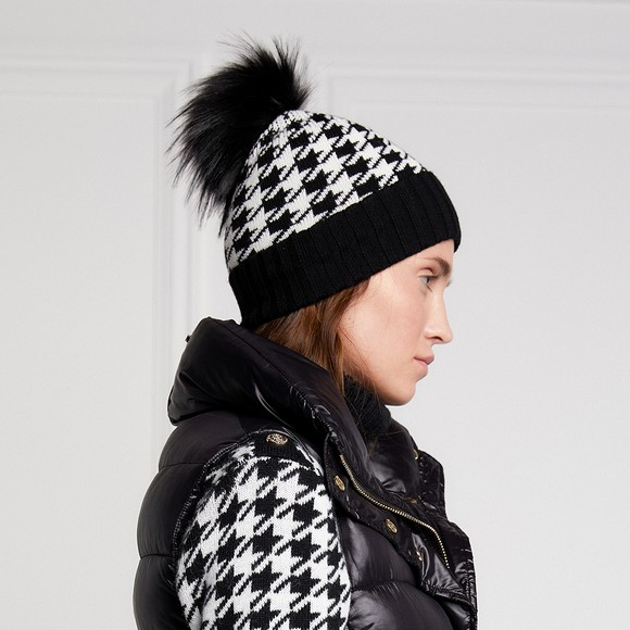 Holland Cooper Womens Black Knitted Bobble Hat