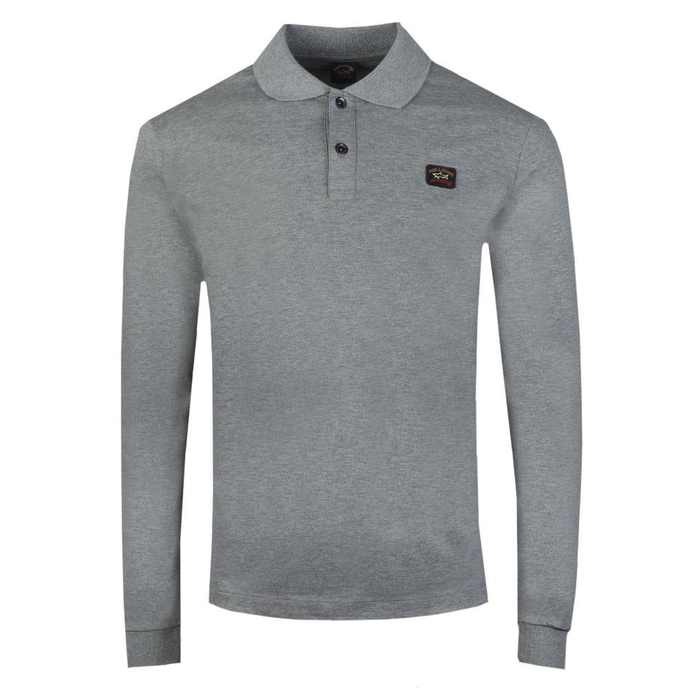Chest Badge Long Sleeve Polo Shirt
