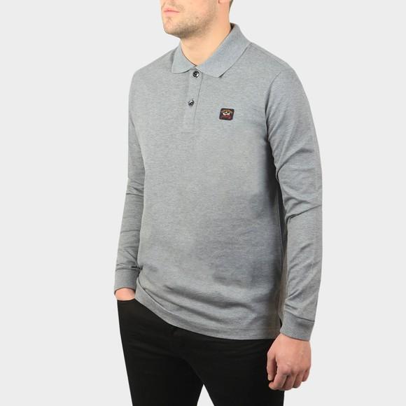 Paul & Shark Mens Grey Chest Badge Long Sleeve Polo Shirt