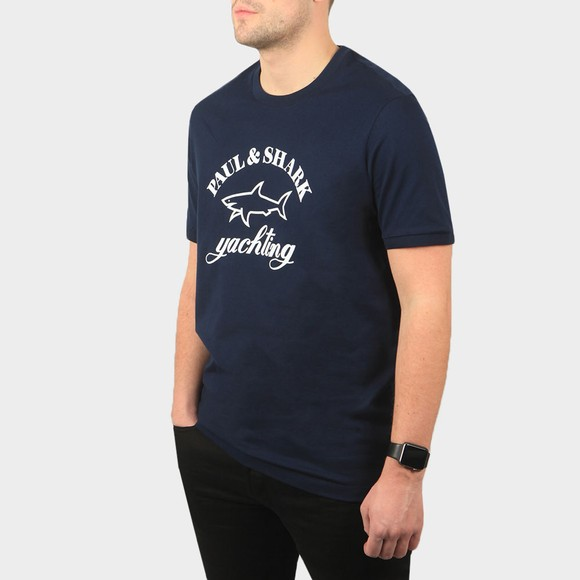Paul & Shark Mens Blue Large Logo T-Shirt