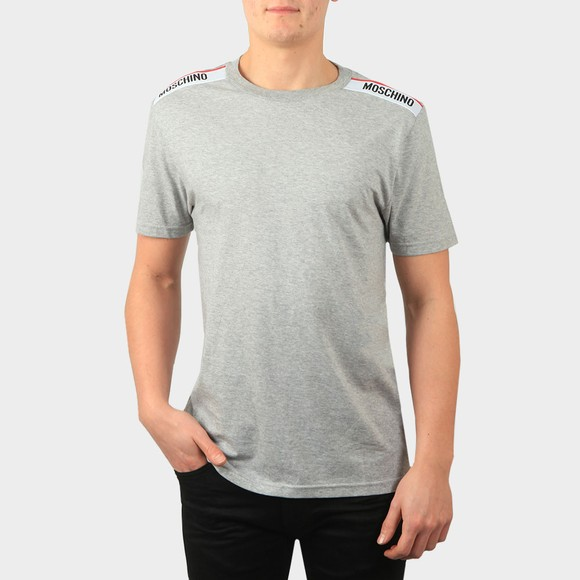 Moschino Mens Grey Tape Shoulder T-Shirt