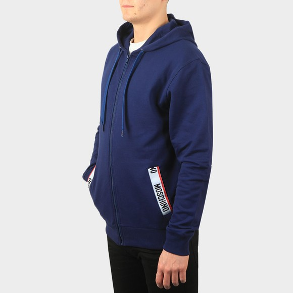 Moschino Mens Blue Pocket Tape Full Zip Hoody